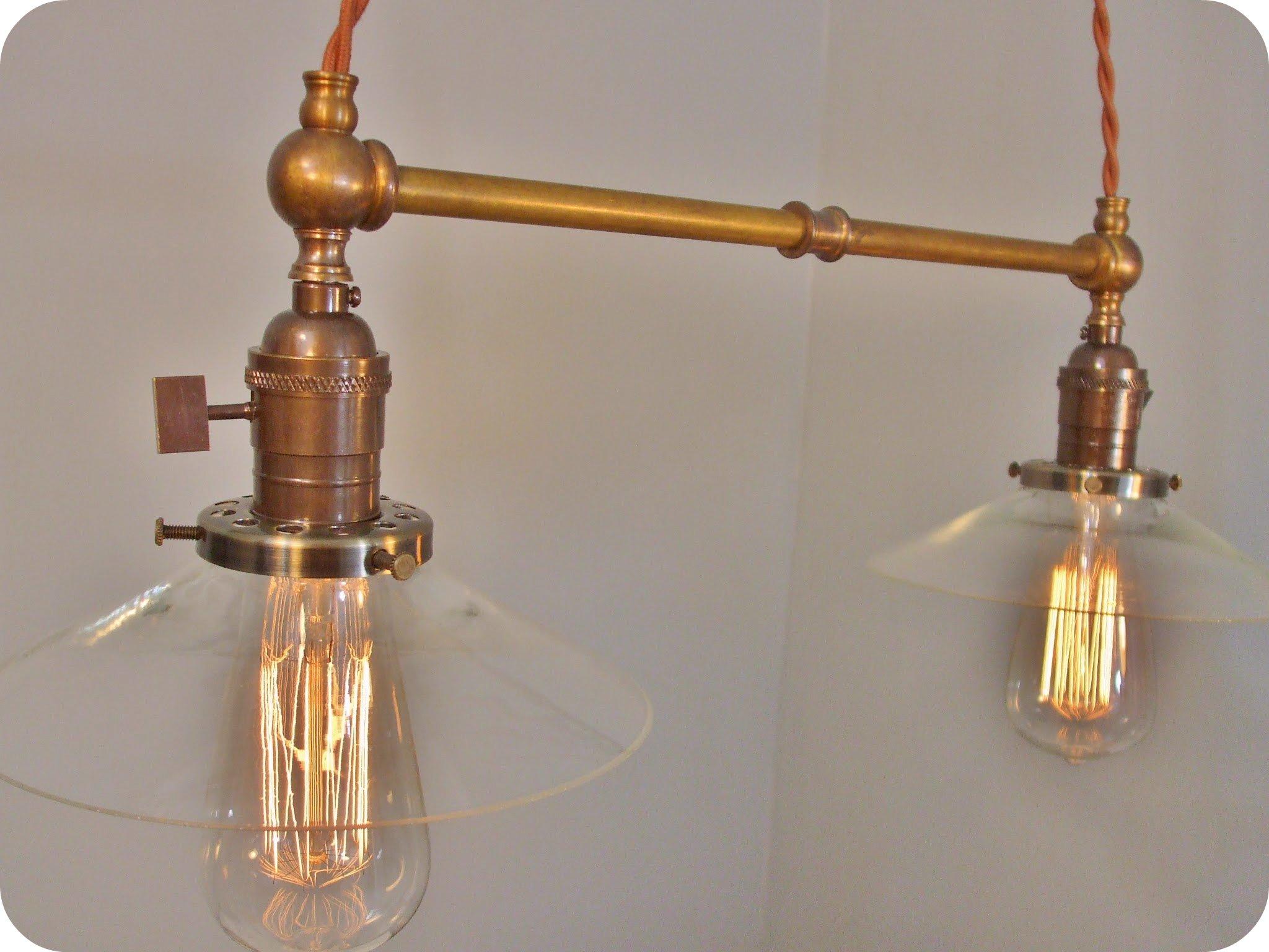 Twin Pendant Lamp W/ Glass Shades