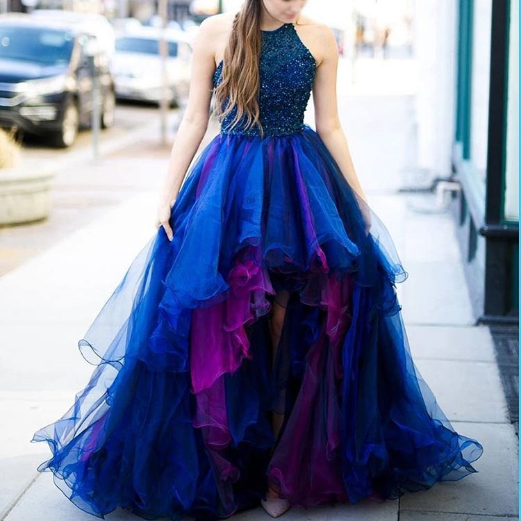 233a01297c18 High Low Prom Dresses,Layered Organza Prom Dresses,Champagne Prom Dresses,Shinning  Beaded