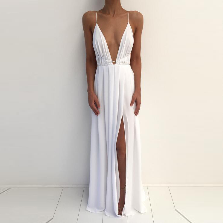 d5ce6b9b7e97 White 20sexy 20low 20v 20neck 20formal 20gown 2cbackless 20long 20party  20dress original