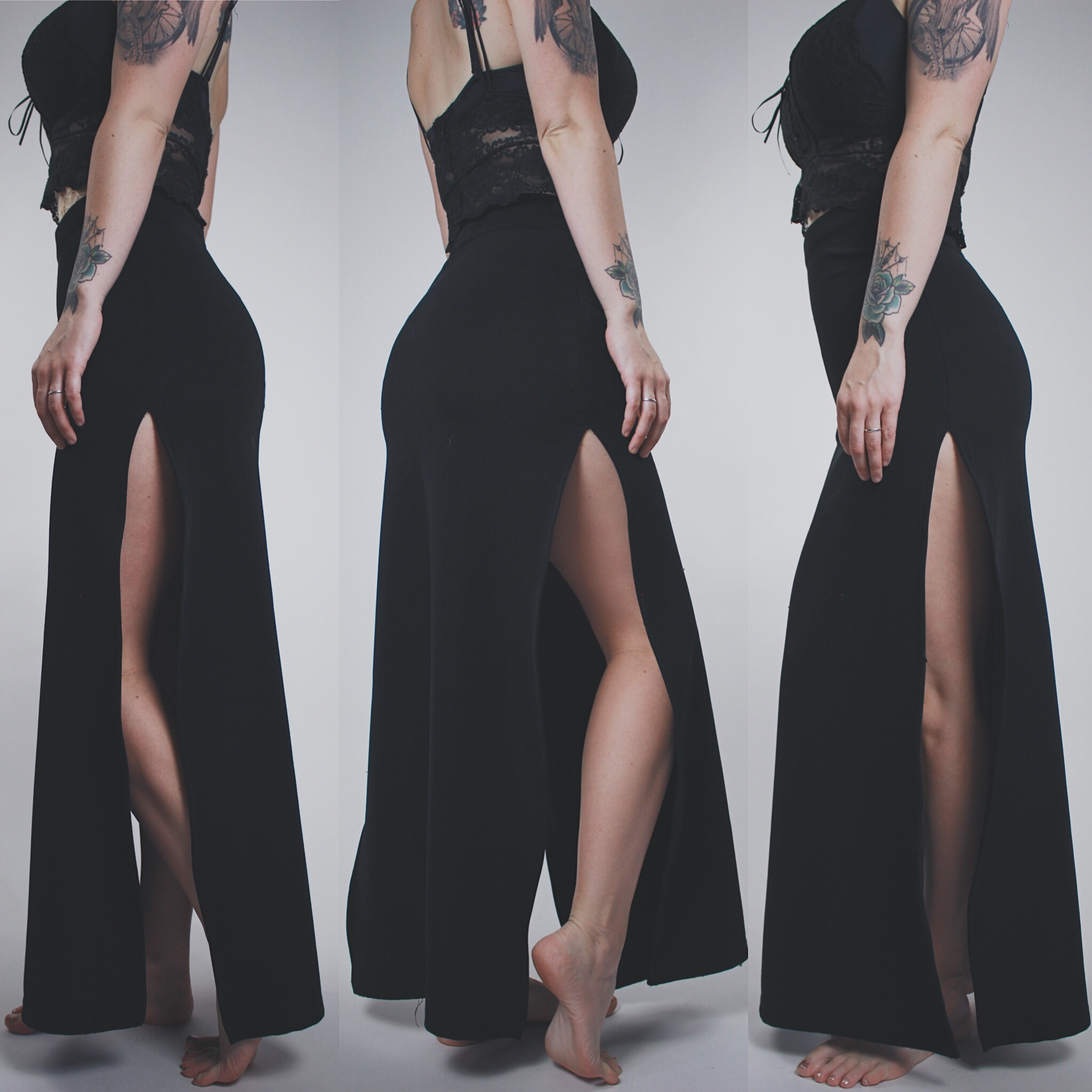 5fdb4ee1cd CLAIMED @pantii_brief - Vintage 90s Black Ribbed Double Slit Bodycon Maxi  Skirt
