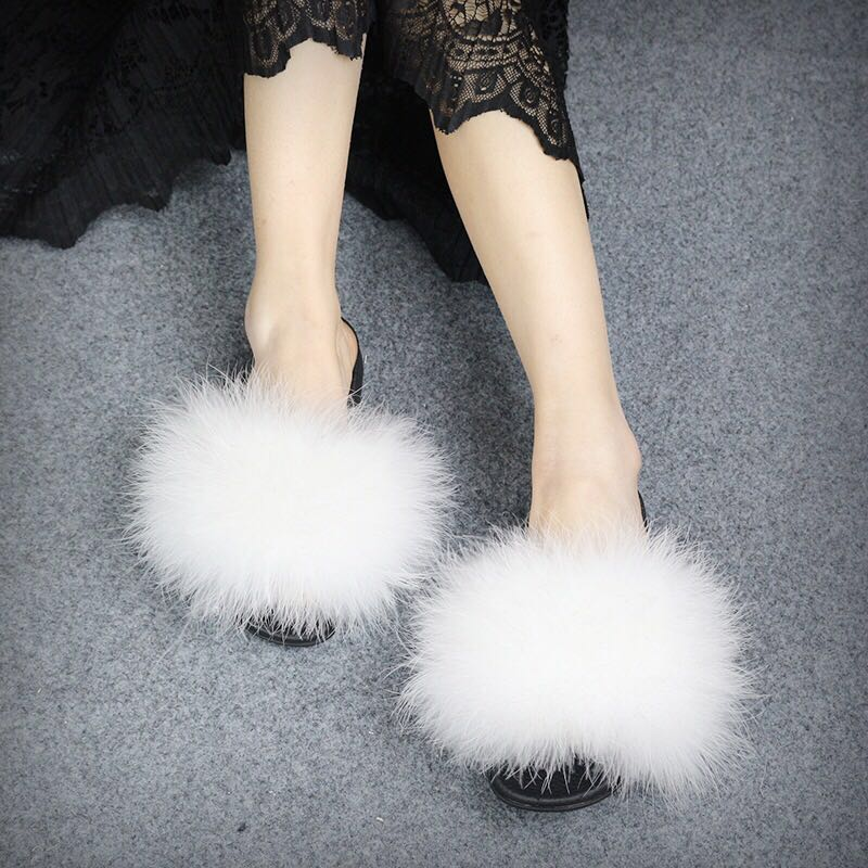 shop best sellers fantastic savings pre order Woman Fashion White Fluffy Ostrich Hair Slippers Sandals ...
