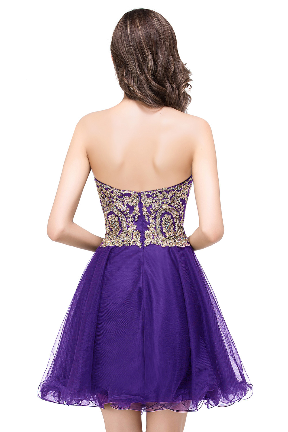 Short Purple Gold Lace Appliques Homecoming Dresses Prom Cocktail ...