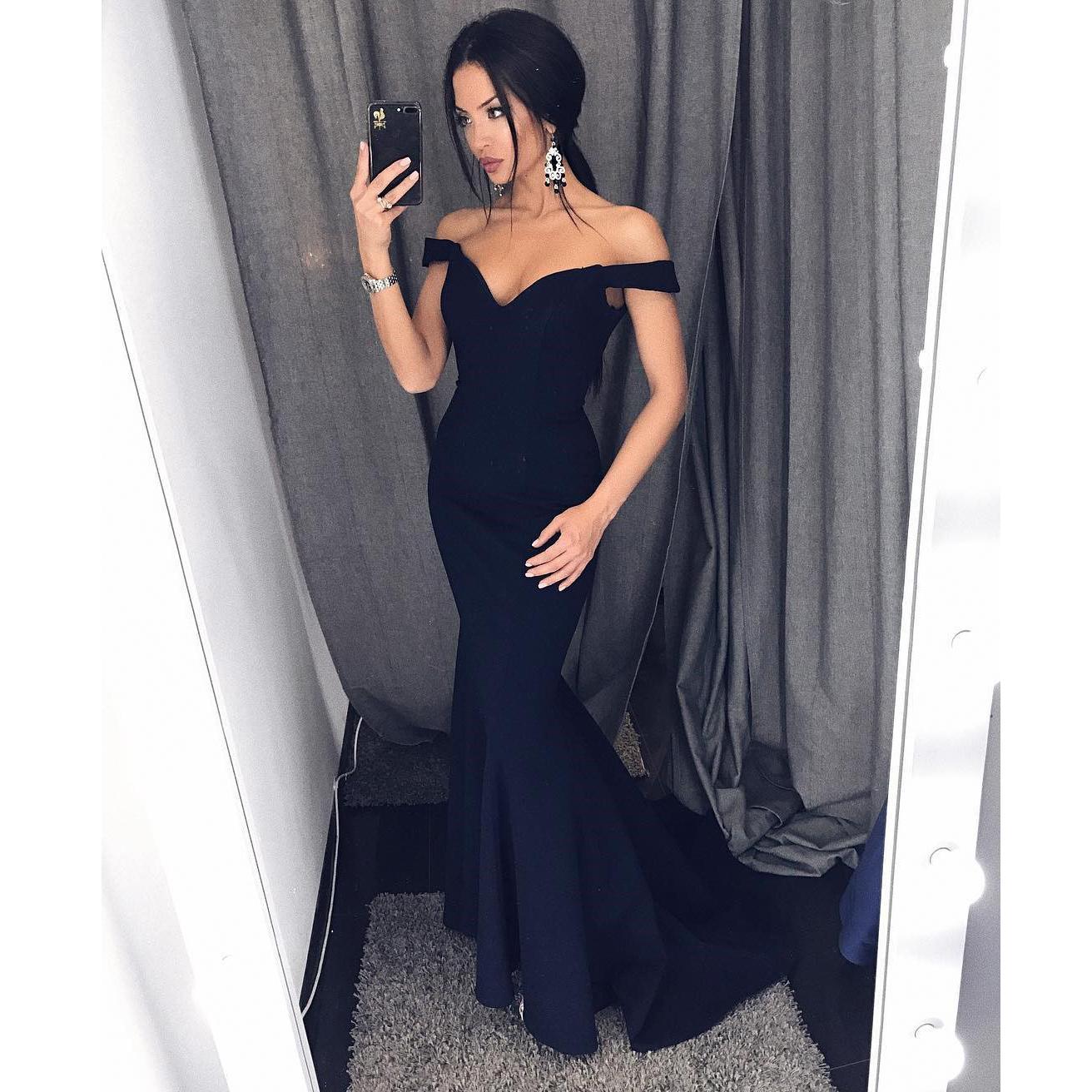 8279c6b0d0 Fashion Navy Blue Off The Shoulder Mermaid Prom Dress