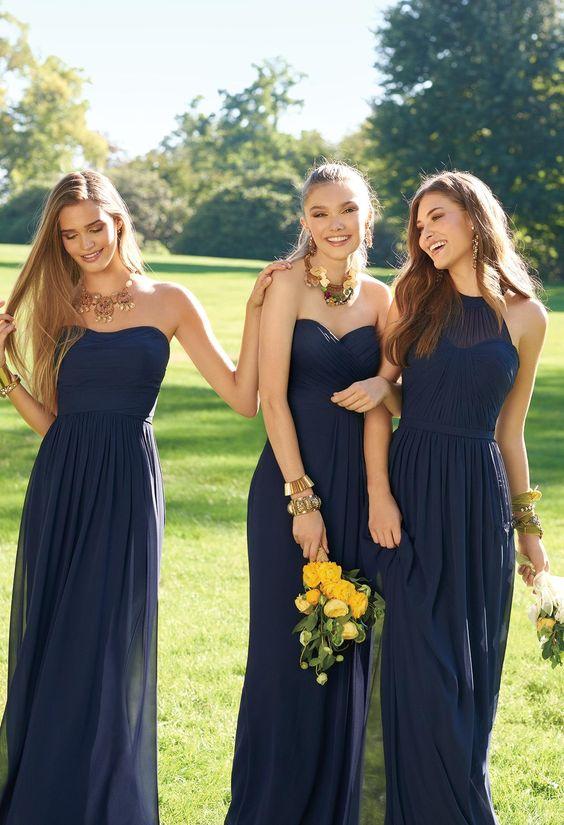 93097ace365 A121 Illusion Halter Neck Long Chiffon Elegant Navy Blue Bridesmaid Dress  Wedding Party Dress