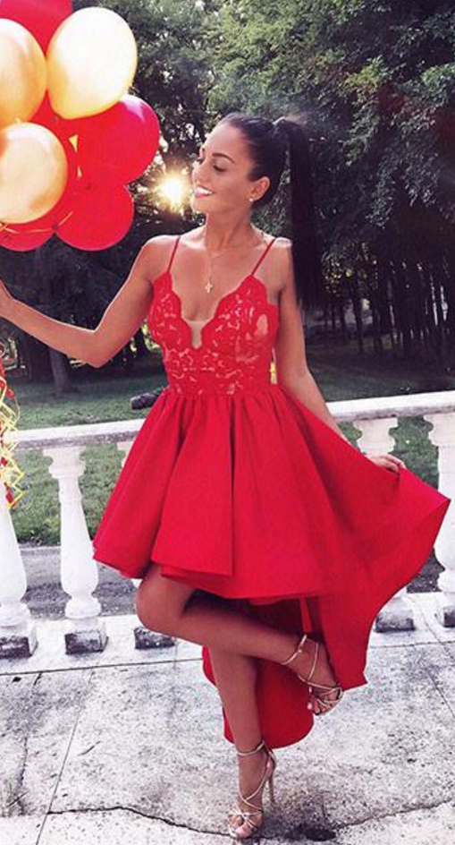 638d0be24c86 Lace Appliques Prom Dress Sexy Prom Dress,Black V Neck Cute Red High-low
