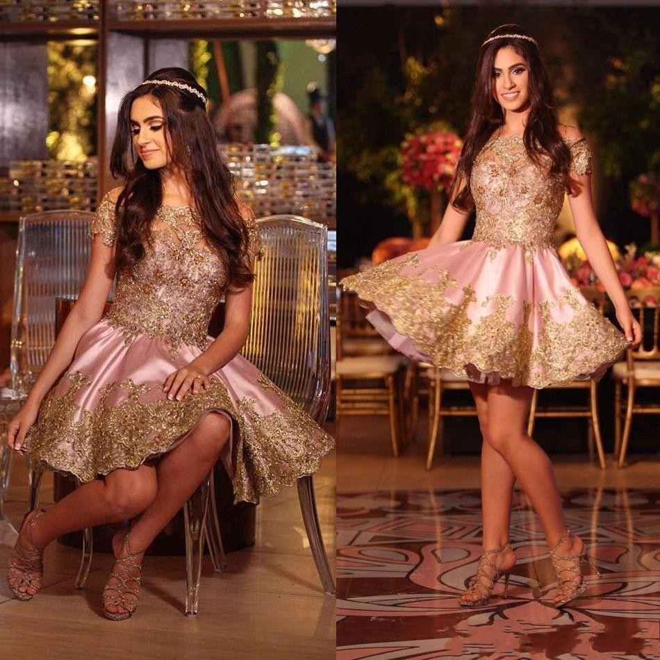 7cd2a10fe8d Pink Gold Homecoming Dresses Off-the-Shoulder Short Sleeves Cocktail ...