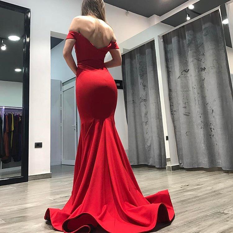 cc544b39462 2018 Red Off The Shoulder Mermaid Prom Dress