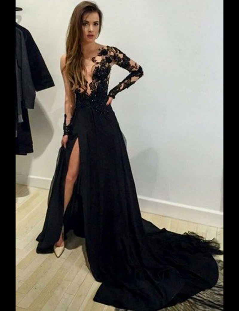 Sexy Sheer A-line Long Sleeves Lace Black Prom Evening Dresses High Slit  Prom Dress a34236d04