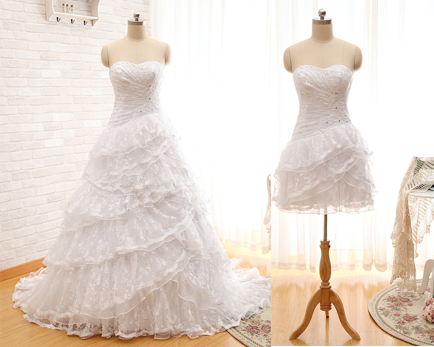 A263 Ball Gown Lace Bridal Dress,Two in one lace wedding dress,2017 ...