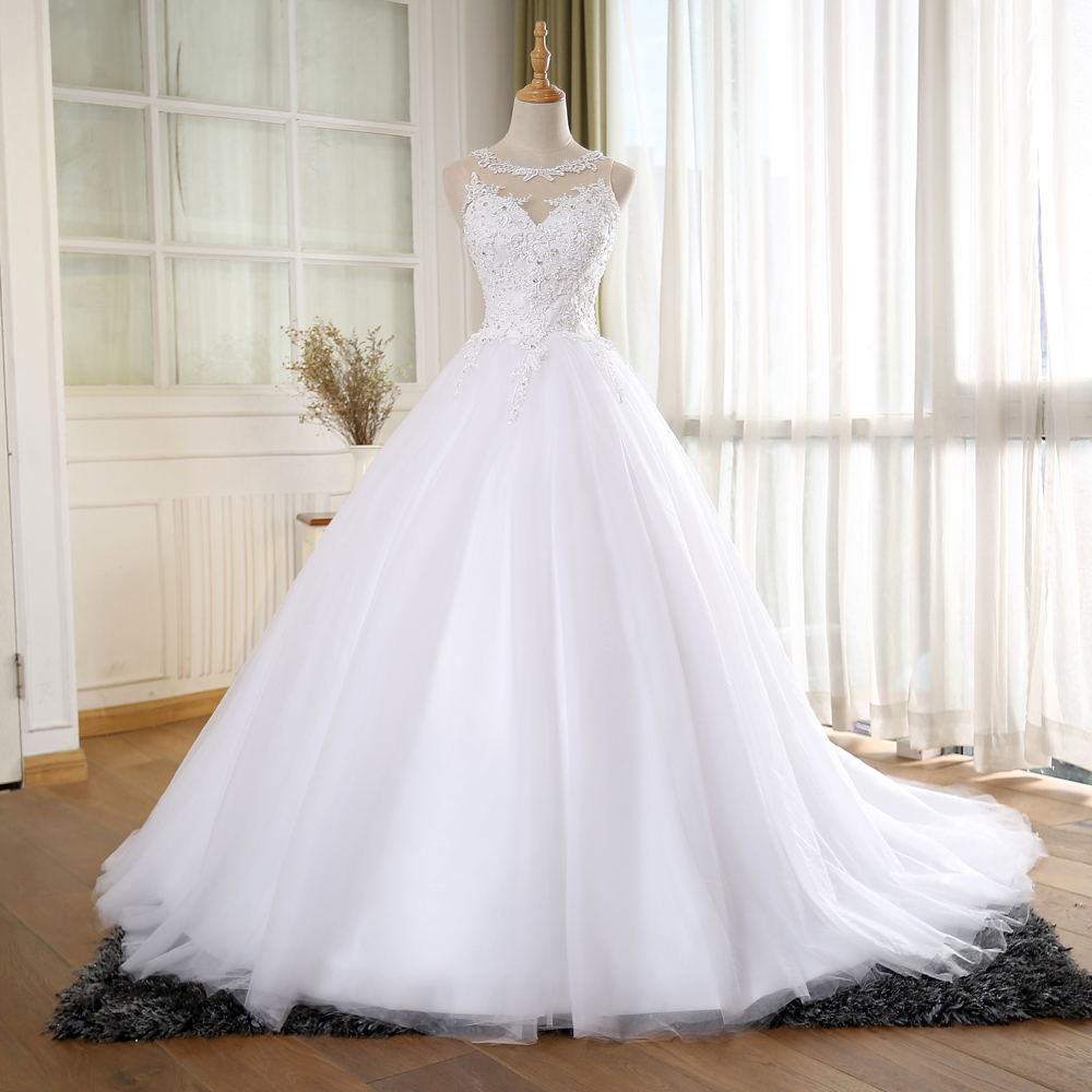 A265 Ball Gown Vintage Wedding Dress With Pearls,Princess