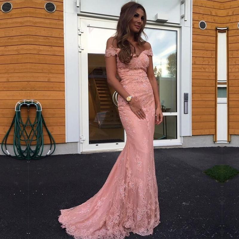 0cef2dba1912 A10 20elegant 20pink 20lace 20mermaid 20evening 20dress 20off 20shoulder  20prom 20gowns 2cmermaid 20pink 20lace 20prom 20dress