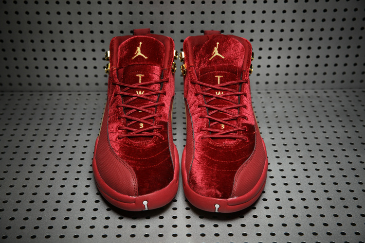 super popular 81ea0 9ae91 Nike Air Jordan 12 Wine Red Gold Velvet Shoes Nike Air Jordan Retro 12 Shoes  Men Basketball Shoes On Sale on Storenvy