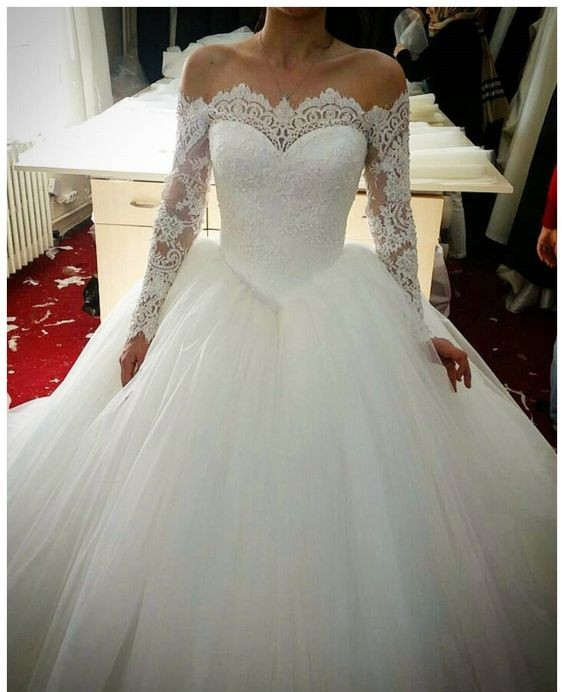 131159f5785 Off Shoulder Long Sleeves Lace Wedding Dress