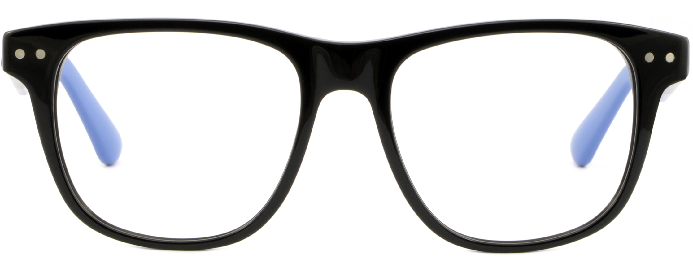 262681f4444 Oversized Black Square Mens Plastic Frame Wide Glasses Silver Dots ...