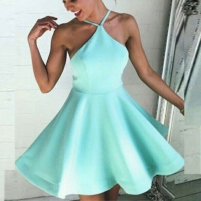 41c6d6a3704 A369 a-line halter backless short mint green satin homecoming dress
