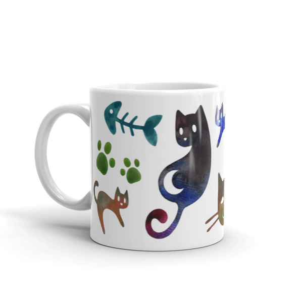Cats Mug Watercolor Print Kawaii Animal Gift For Cat