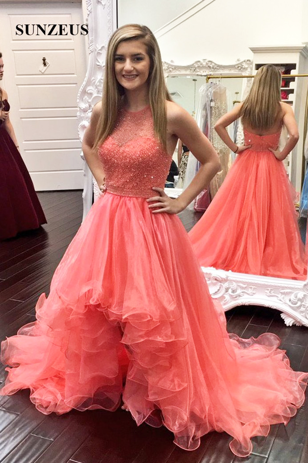 ea1867ec5c3e Halter Neck A Line Long Coral Organza Top Beading High Low Crystal Prom  Dress,High
