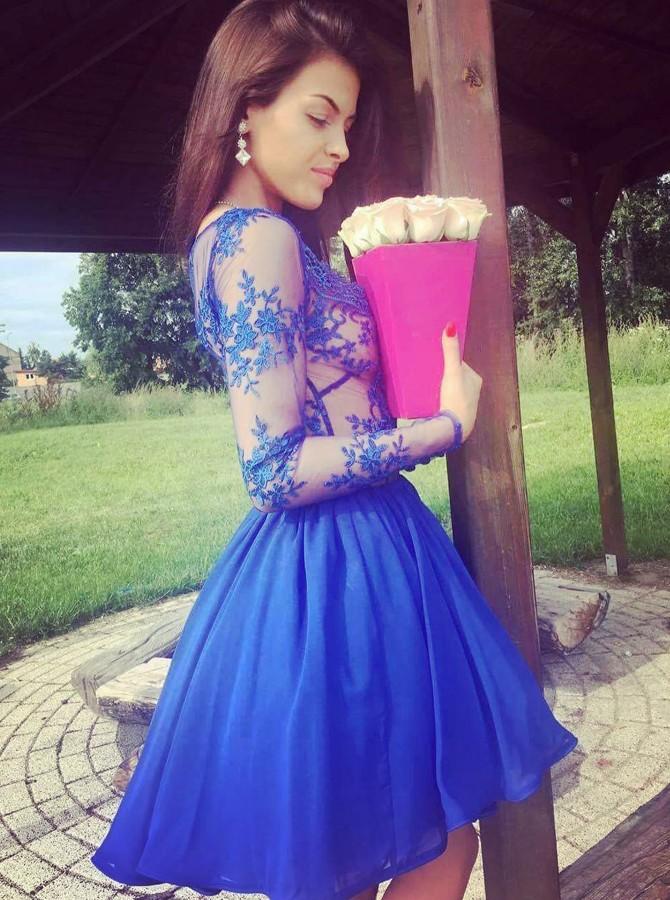 1f7b5d357e2 Royal Blue Long Sleeve A Line Short Lace Homecoming Dresses