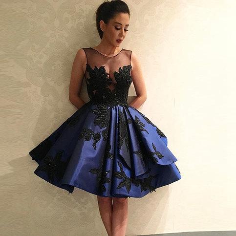 Formal Dress Dark Blue Lace Short A Line Prom Dress
