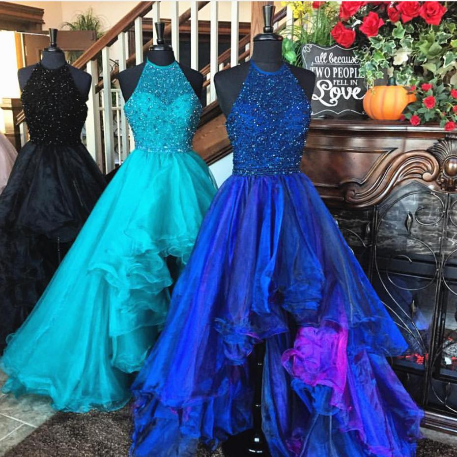 sparkly beading halter neck royal blue long organza ruffles front ...