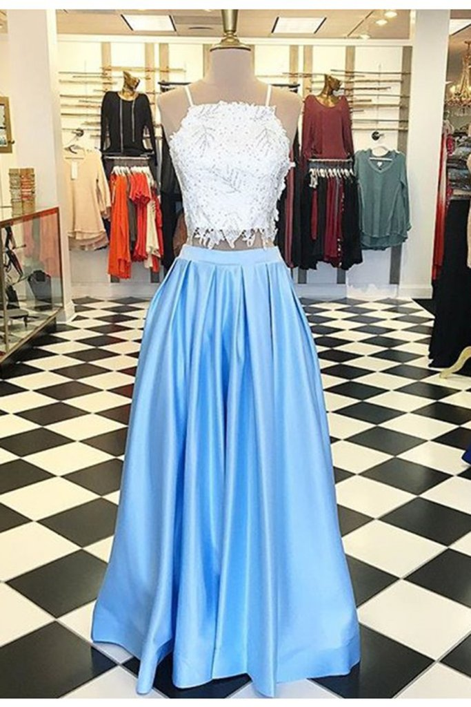 35988a80d06 Two Piece Long Red Royal Blue Black Formal Elegant Lace Satin Prom Dress