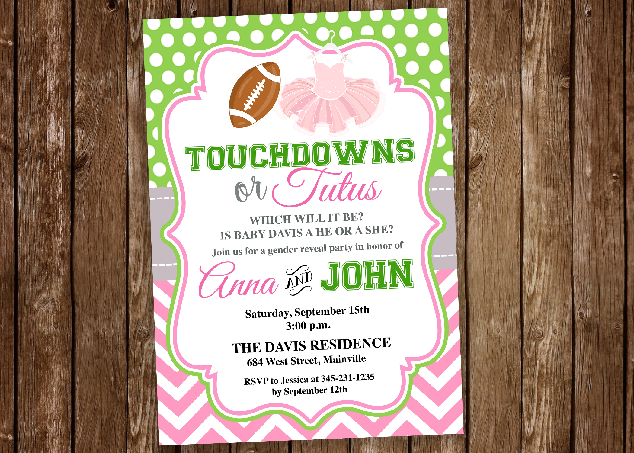 Touchdowns Or Tutus Gender Reveal Invitation Football Tutu Boy Girl Party Baby Shower