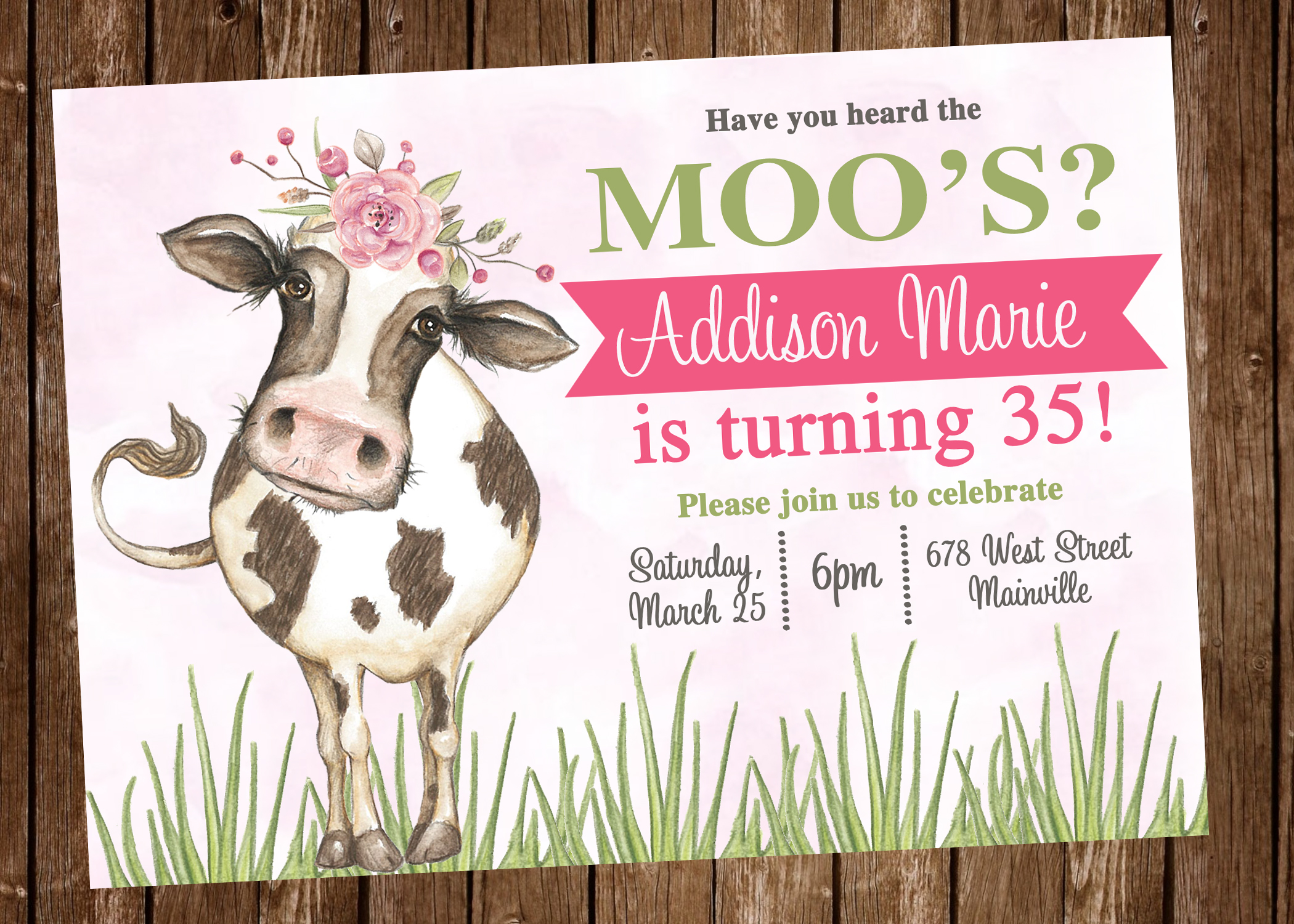 Cow Birthday Party Invitation - Digital or Printed on Storenvy