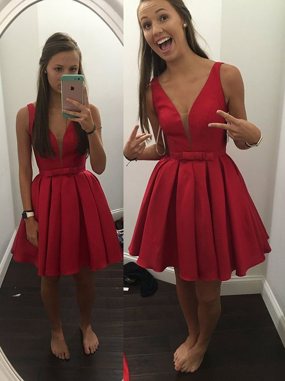 95fd2c72b8 New Arrival A-line V-neck Red Satin Knee Length Short Party Dress With Bow Homecoming  Dress HD40 on Storenvy