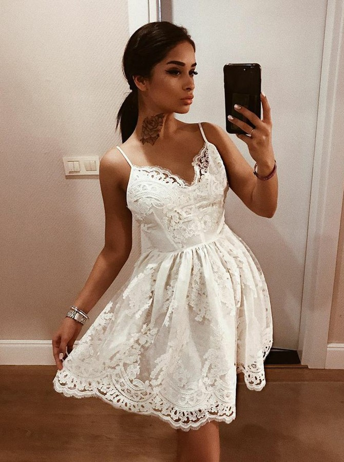 127770c4989 Fashion A-Line Spaghetti Straps Backless White Lace Short Homecoming Dress