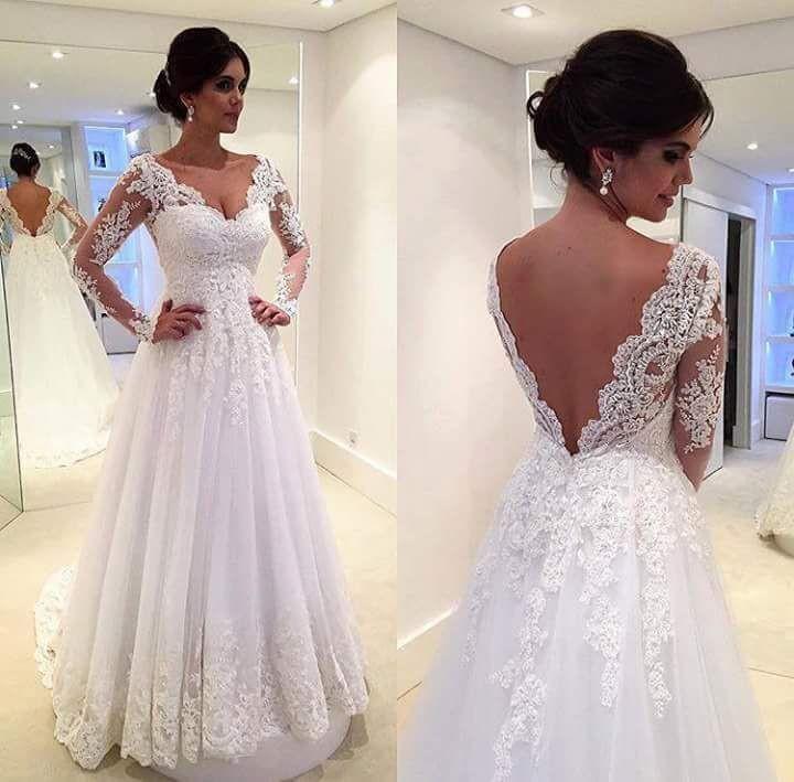 73295d325384 E151 Vestidos De Novia Sweetheart Backless A Line Tulle Lace Long Sleeve  Wedding Dress Full Sleeve ...