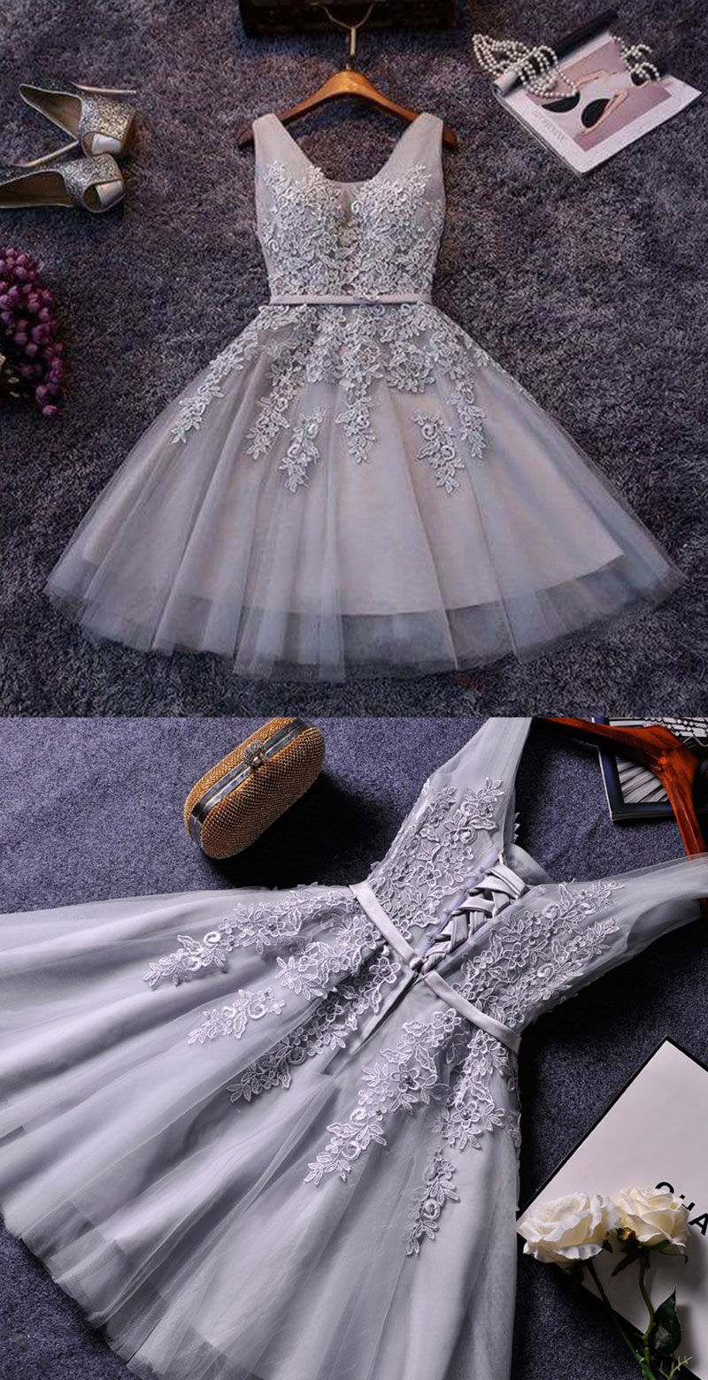 87a30a7bf24e Cute A-line grey lace short prom dress,homecoming dresses on Storenvy