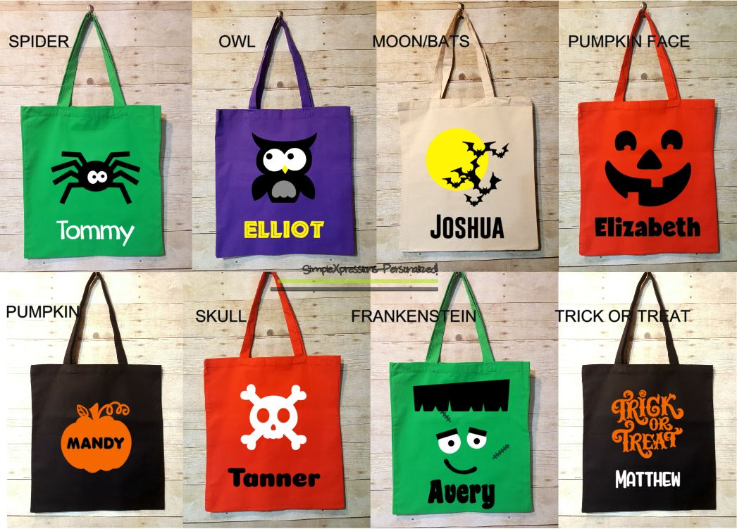Halloween Trick Or Treat Bags Personalized.Personalized Trick Or Treat Bag Halloween Tote Bag Halloween Pumpkin Spider Owl Skeleton From Simplexpressions Personalized