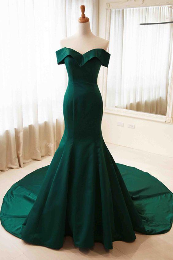 c30af80965e3 Green satin mermaid prom dress