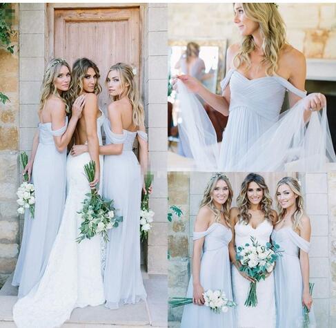 Am465 Draped Sky Off Shoulder Beach Boho Long Blue Bridesmaid Dresses Bohemian Wedding Party Guest Bridesmaids Gowns Cheap From Dressesamy