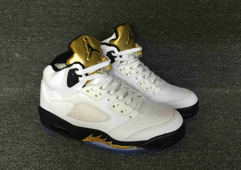 on sale 6be45 9f3d6 Air Jordan Retro 5 Olympic Gold Coin White Black from Fashion7SHOP