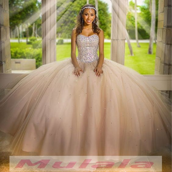 Champagne Tulle Ball Gown Quinceanera Dresses Crystal Beaded ...