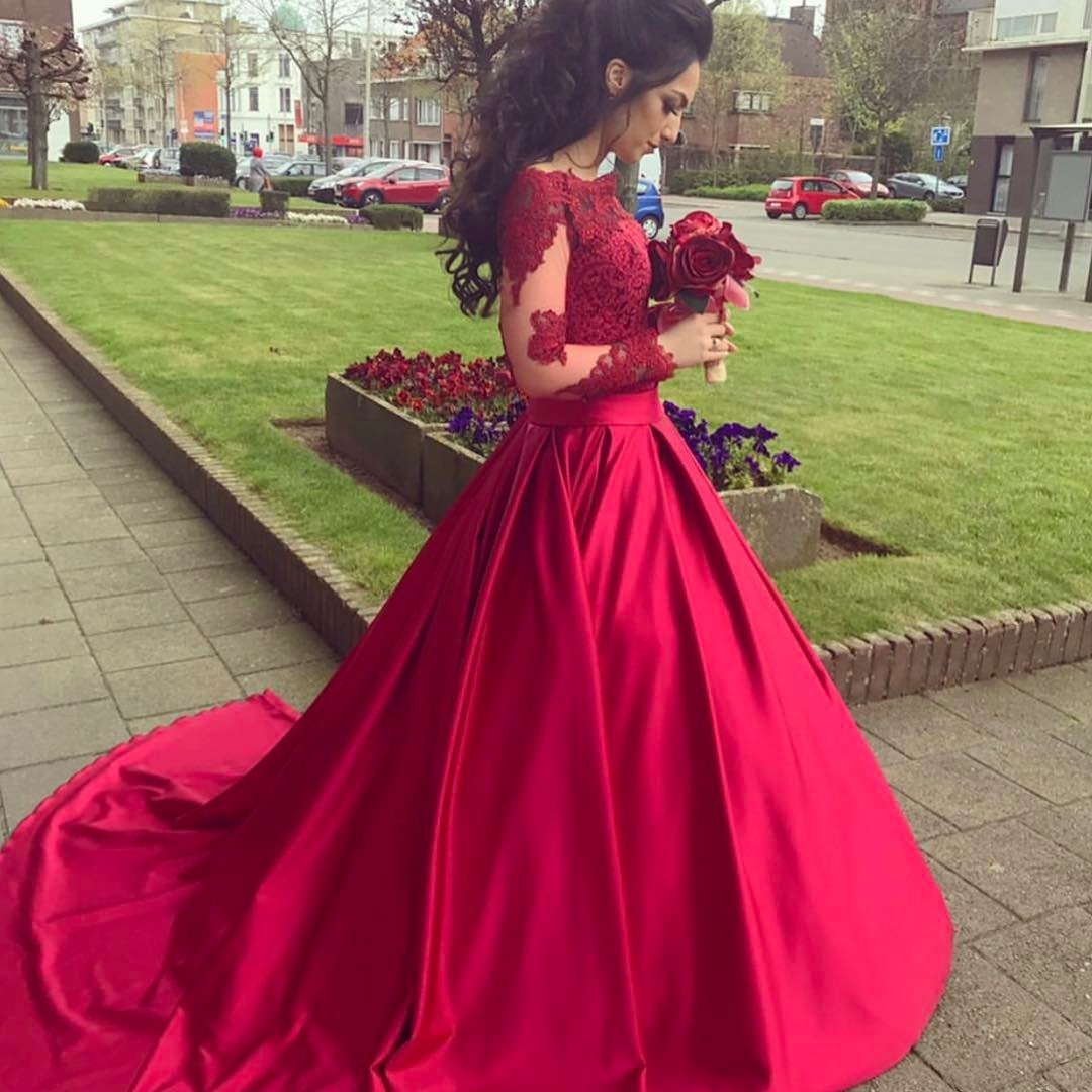 Red Off The Shoulder Long Sleeve Ball Gown Prom Dress 40ef9b878cad