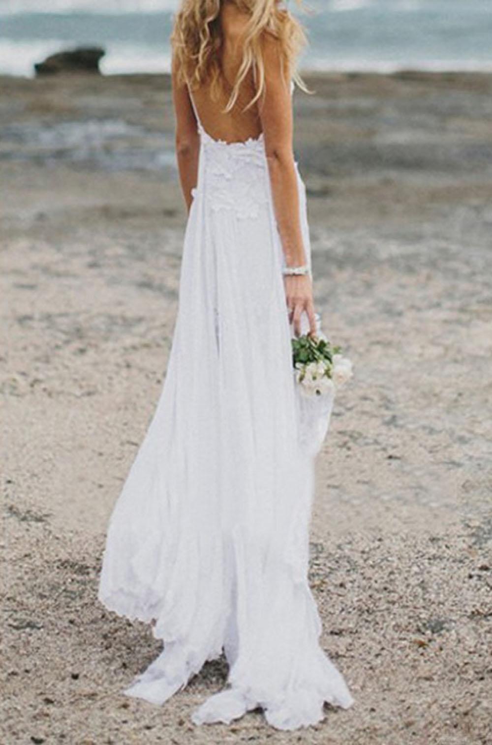 Sexy Spaghetti Strap Chiffon Wedding Dresses, Beach Wedding ...