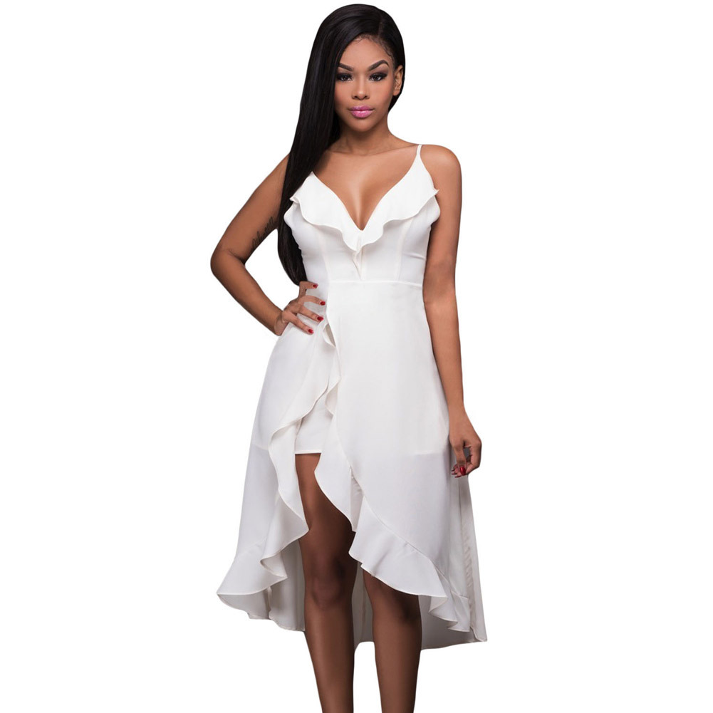 d69691d30b6 High Quality Women Dress Summer Sleeveless Sexy V Neck Solid White Sundress  Ruffle High-low