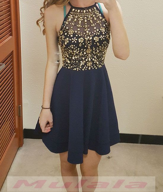 549dc658fd6 Navy Blue Gold Beaded Crystal Homecoming Dress A line Short Prom Dresses  Halter Cheap Graduation Dresses