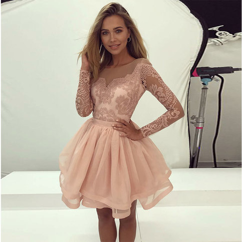 Light Pink Lace Long Sleeve Prom Dress Short Evening Dress From Formal Dress