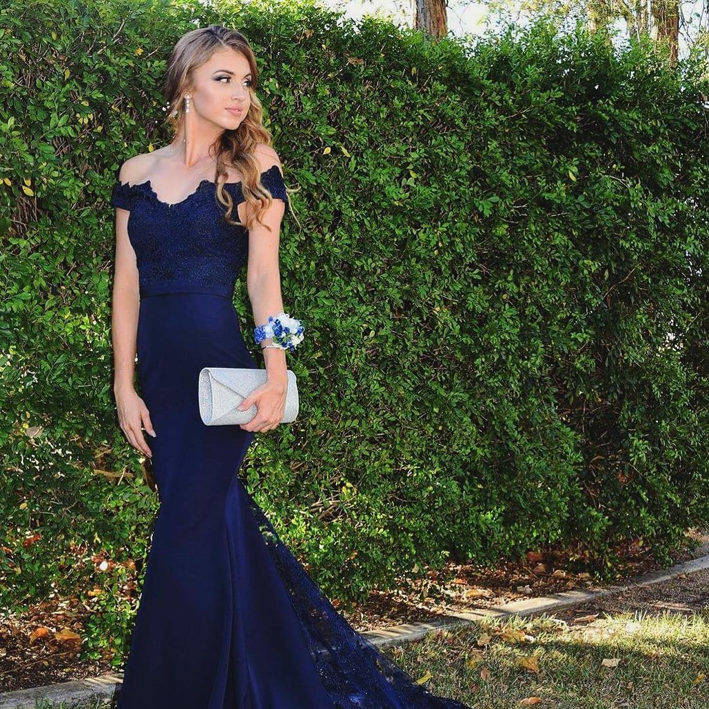 c947c9b9b04 2018 New Arrival Navy Blue Off The Shoulder Mermaid Prom Dress With Lace  Sweep Train