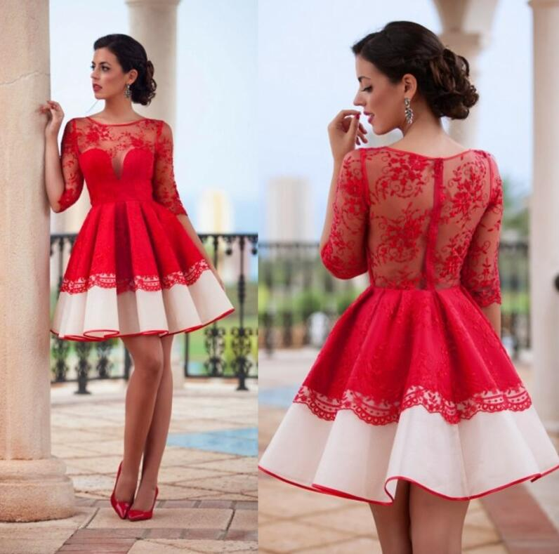 Red Long Sleeve Short Dresses