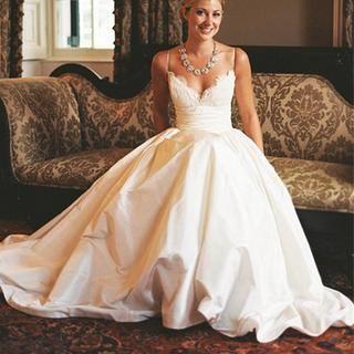 021be00e92c Simple A line Spaghetti Straps Wedding Dress