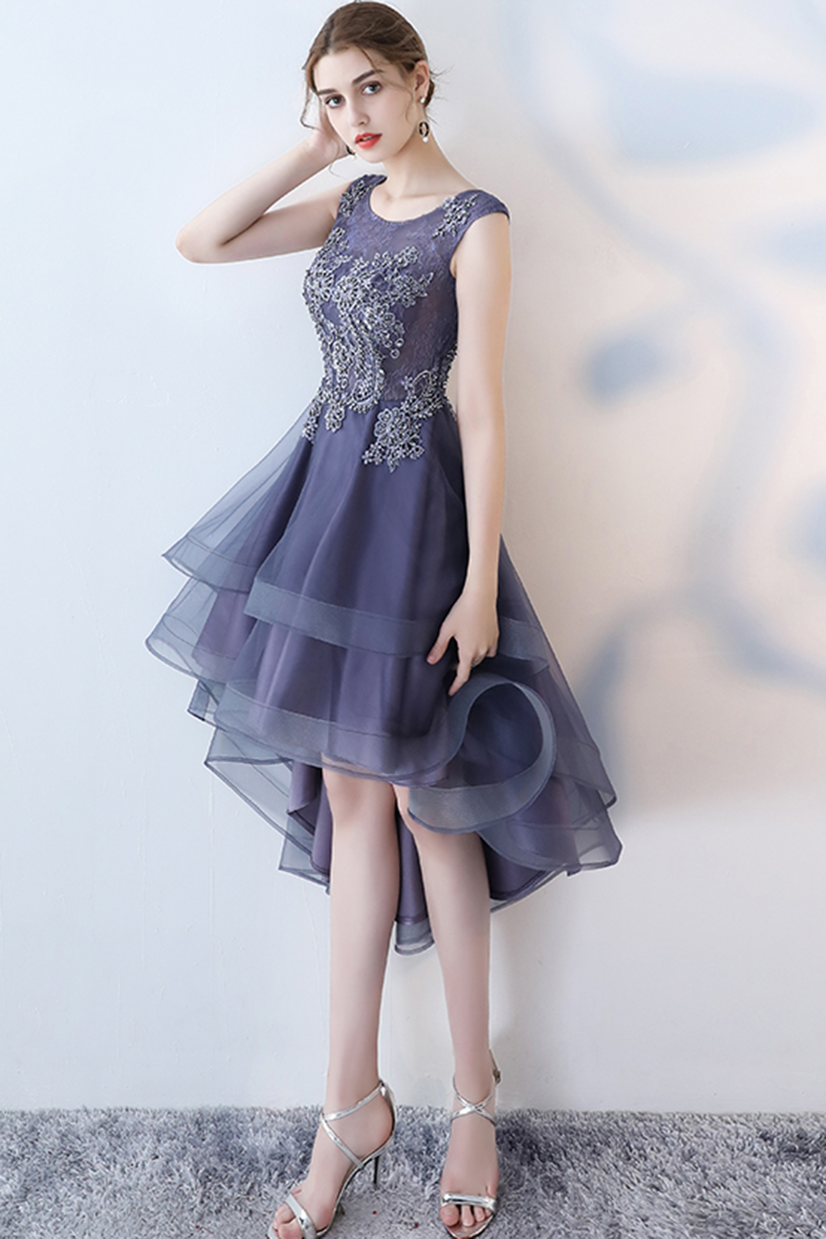 c1d9ba5746 Stylish navy blue tulle high low halter sleeves homecoming dress ...