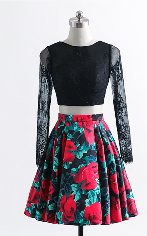 ed50dd9cb8 Black Red Floral Print Satin Ball Gown Two Piece Short Homecoming Dress