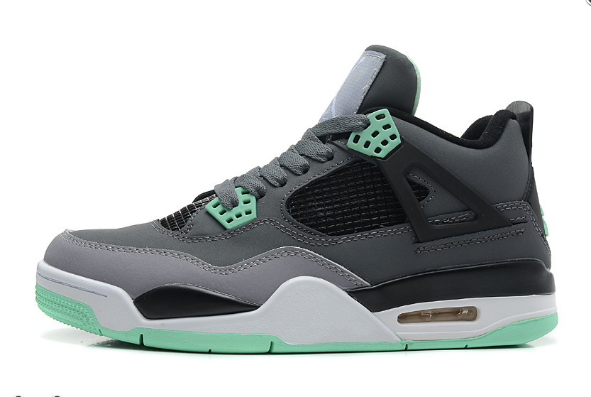 Air Jordan 4 Retro Dark Grey Green Glow Cement Grey Black For Sale Online