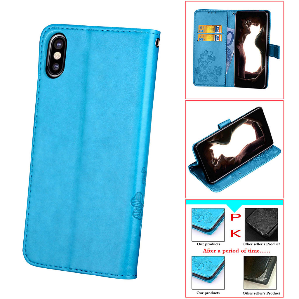 best website 629c5 8eb4a iPhone X Case Wallet Magnetic,iPhone X Wallet Case with Card Holder PU  Leather Kickstand Shock Absorption with 3 Card Slots for iPhone X from  CLONEW
