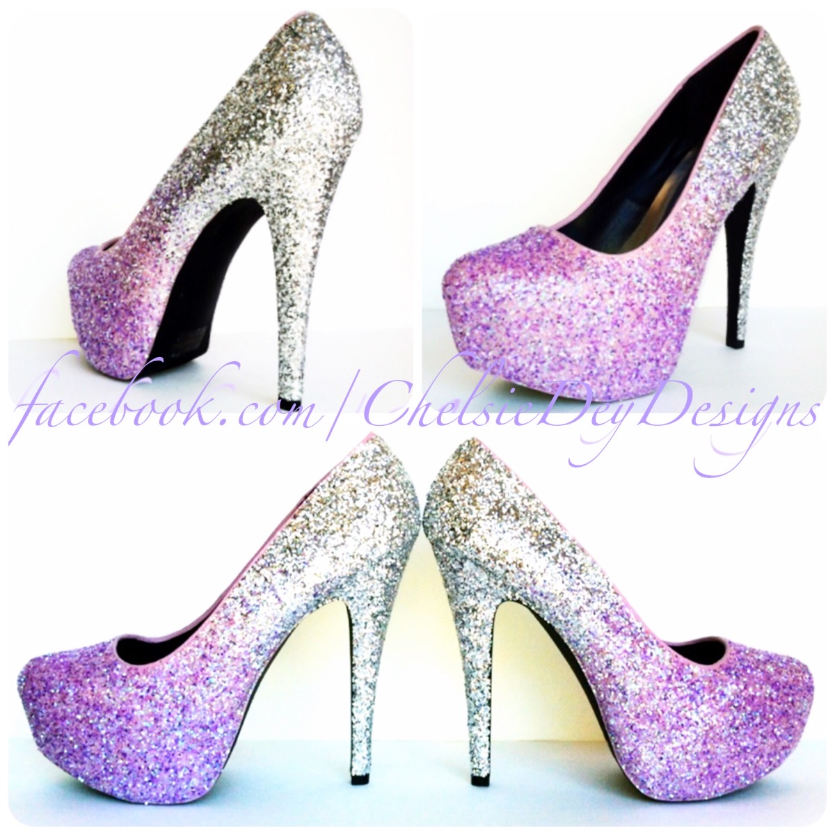 8fca4b107b08 Lilac Glitter High Heels - Purple Lavender Silver Ombre Pumps - Sparkly  Wedding Shoes - Platform Glitter Pumps on Storenvy