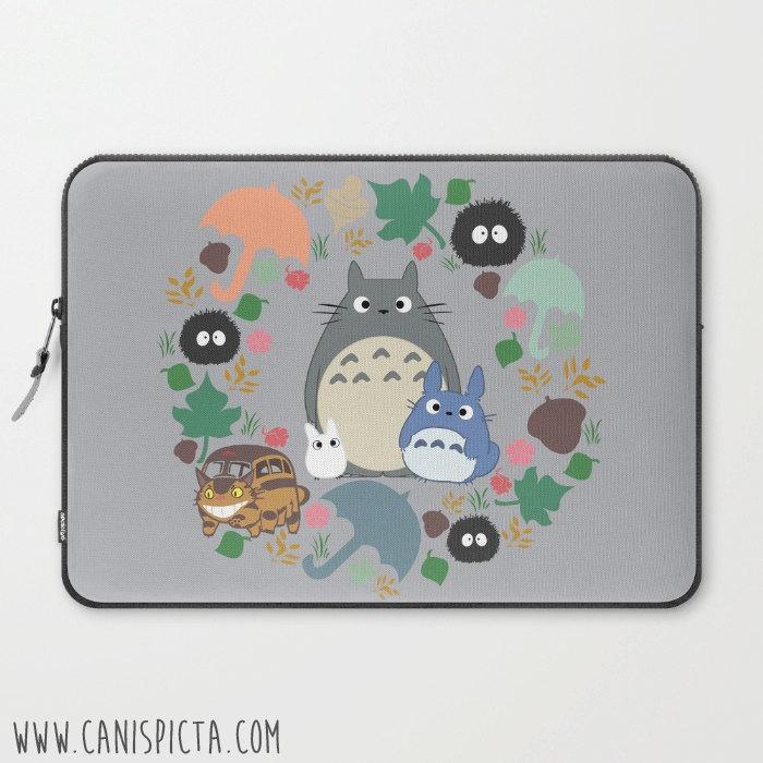 competitive price e2541 91d42 Totoro Kawaii Laptop Case My Neighbor Sleeve Macbook Computer Studio Ghibli  Miyazaki Anime PC Catbus Soot Sprite Forest Grey Blue White Gift